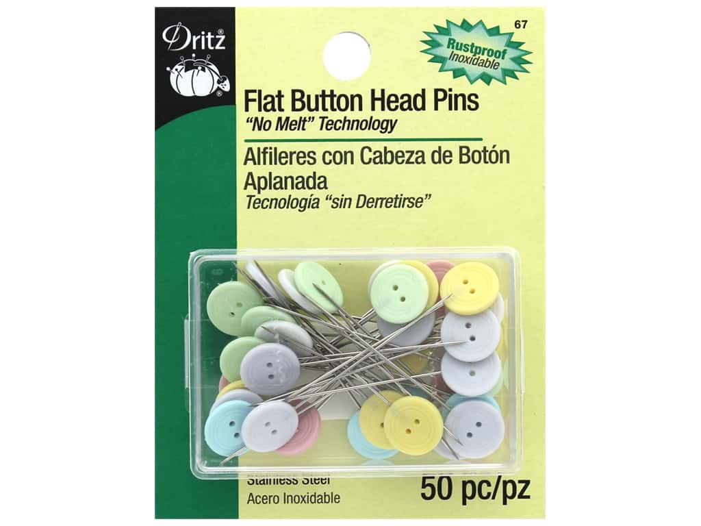Flat Head Pins by Dritz Buttons 2 in. 50 pc.