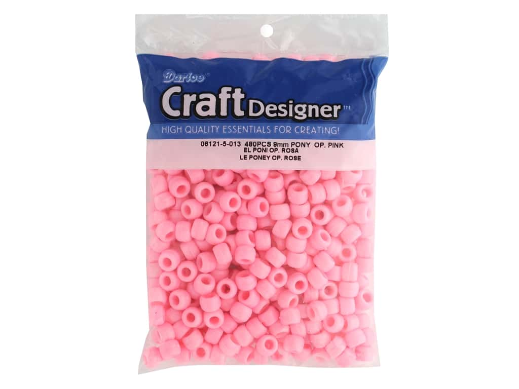 Darice Pony Beads 6 x 9 mm 480 pc. Opaque Pink