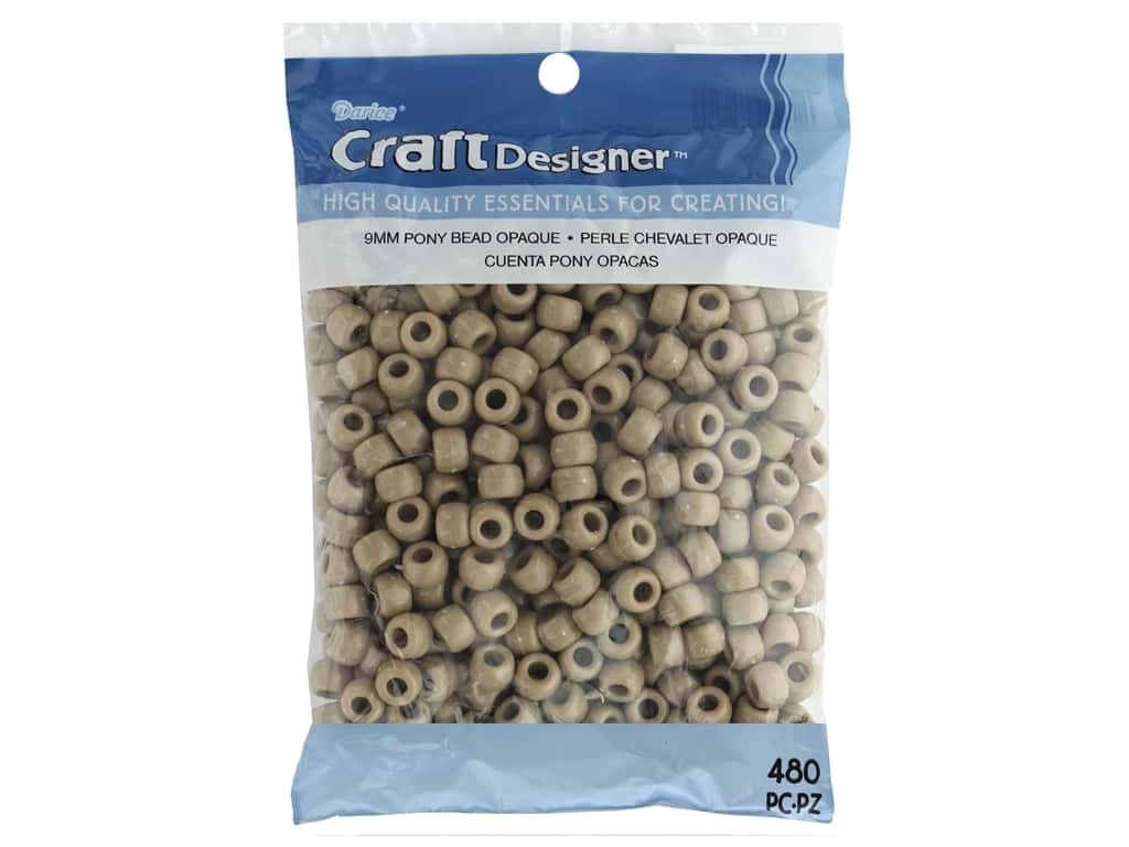Darice Pony Beads 6 x 9 mm 480 pc. Opaque Tan