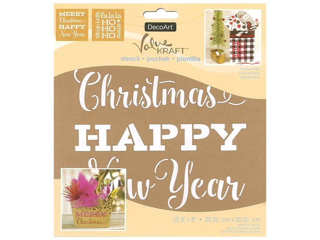 DecoArt Stencil Value Kraft 8 in. x 8 in. Christmas Holiday Cheer