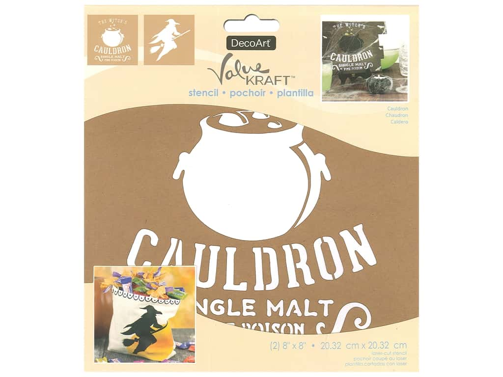 DecoArt Stencil Value Kraft 8 in. x 8 in. Halloween Cauldron