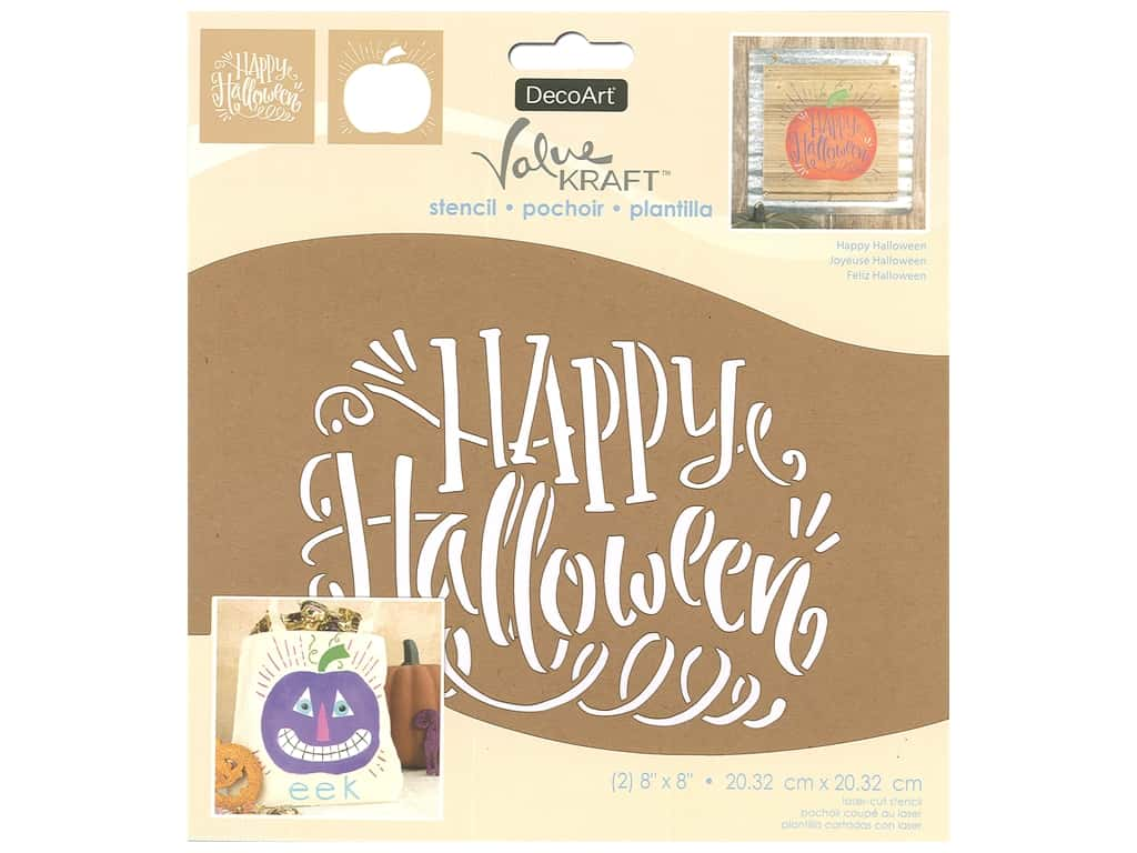 DecoArt Stencil Value Kraft 8 in. x 8 in. Halloween Happy