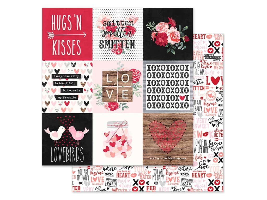 Simple Stories Collection Kissing Booth Paper 12 in. x 12 in. Elements 4 in. x 4 in. (25 pieces)