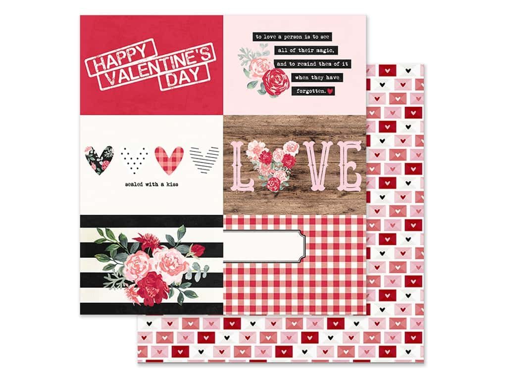 Simple Stories Collection Kissing Booth Paper 12 in. x 12 in. Elements Horizontal 4 in. x 6 in. (25 pieces)