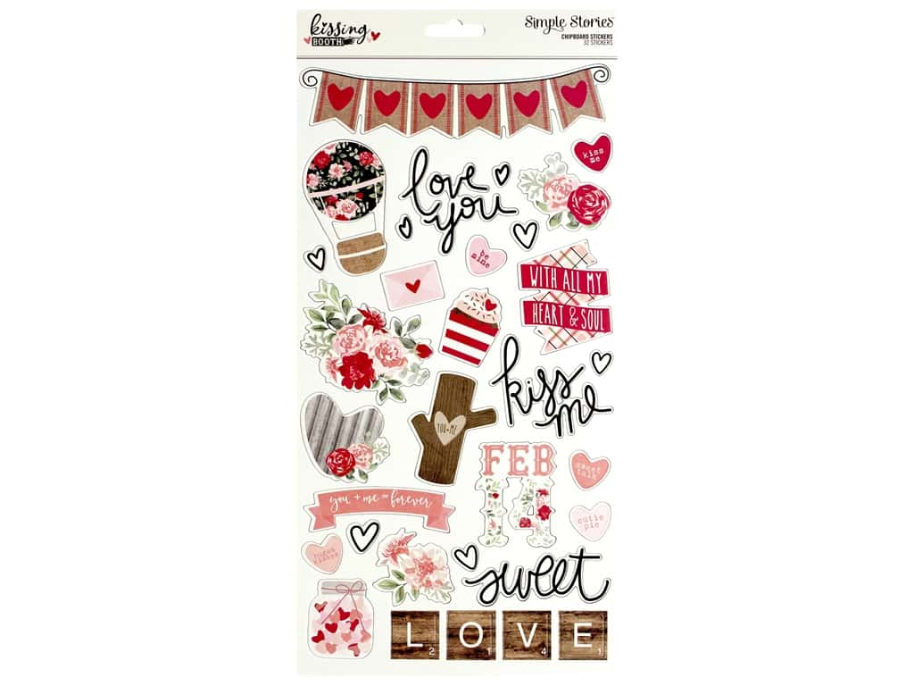 """Simple Stories Collection Kissing Booth Chipboard 6""""x 12"""""""