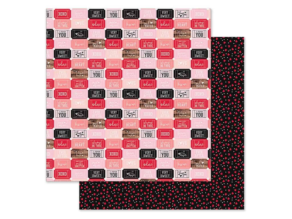 Simple Stories Collection Kissing Booth Paper 12 in. x 12 in. Crazy For You (25 pieces)