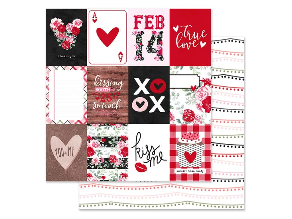 Simple Stories Collection Kissing Booth Paper 12 in. x 12 in. Elements 3 in. x 4 in. (25 pieces)