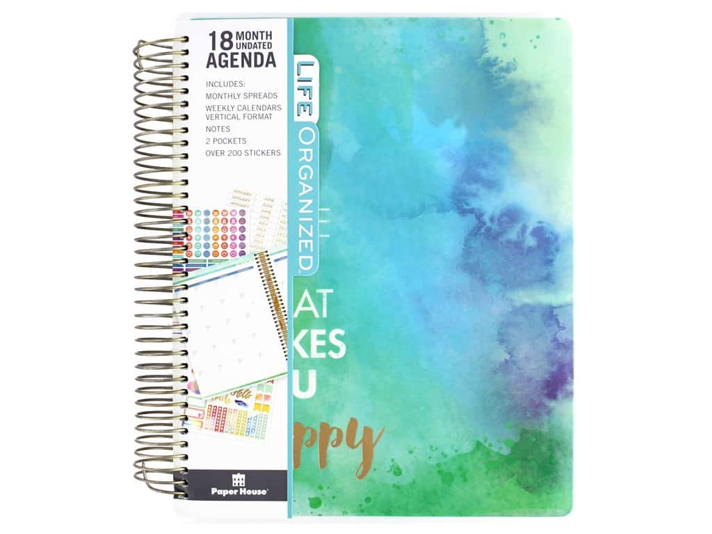 Paper House Collection Life Organized Planner 18 Month Makes You Happy