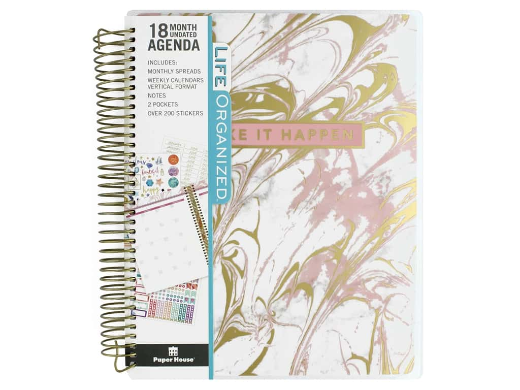 Paper House Collection Life Organized Planner 18 Month Marble Pink