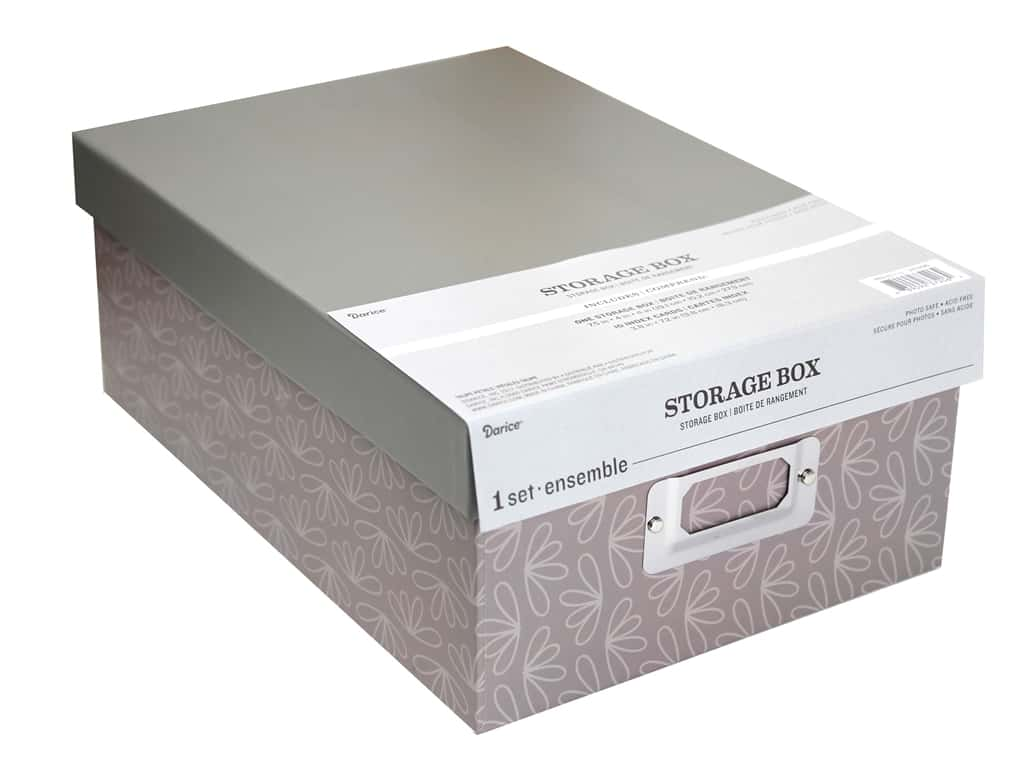 Darice Organizer Storage Photo Box 7.5 in. x 4 in. x 11 in. Taupe Petals
