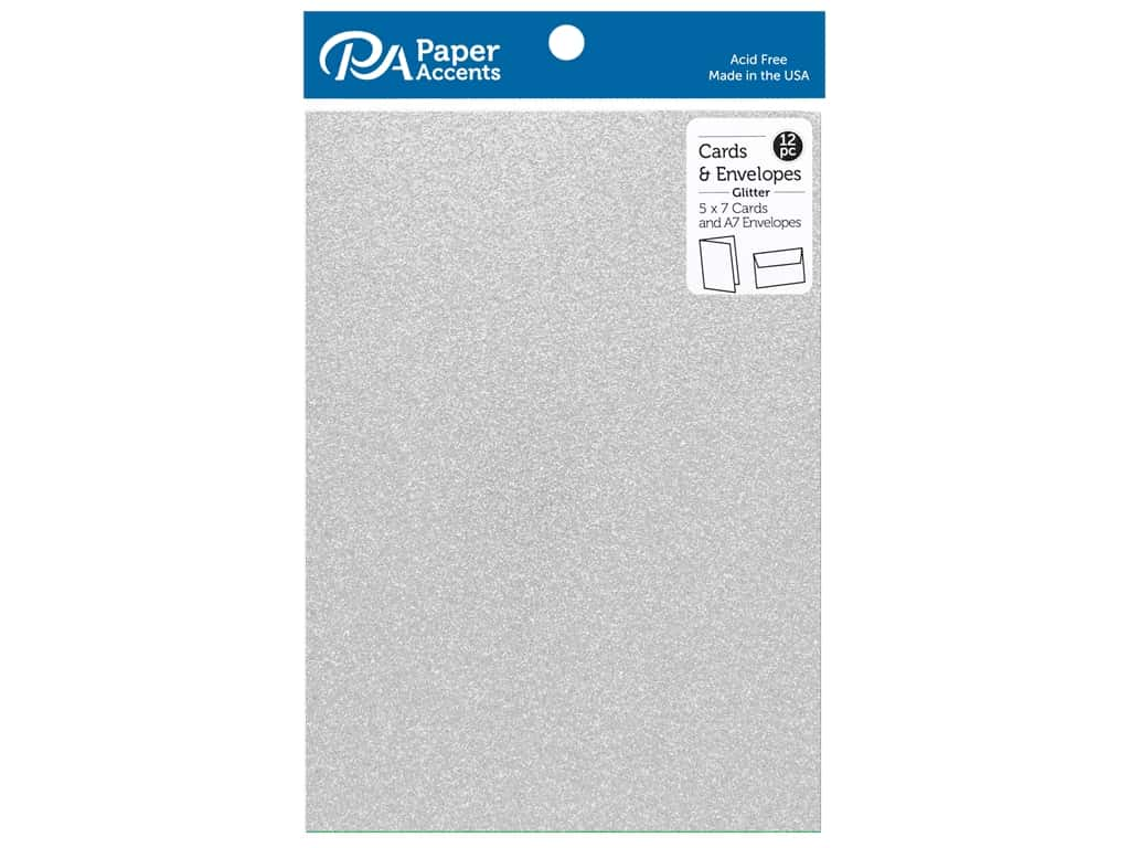 Paper Accents 5 x 7 in. Blank Card & Envelopes 12 pc. Glitter Silver