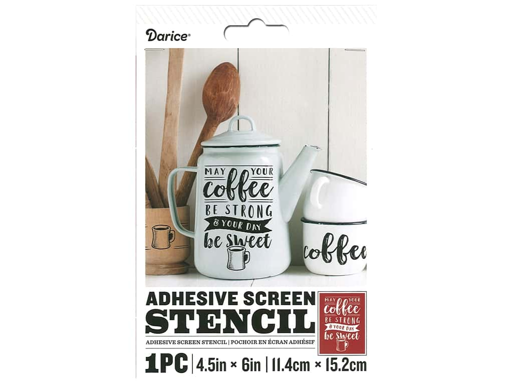 Darice Adhesive Screen Stencil 4 1/2 x 6 in. Coffee Strong