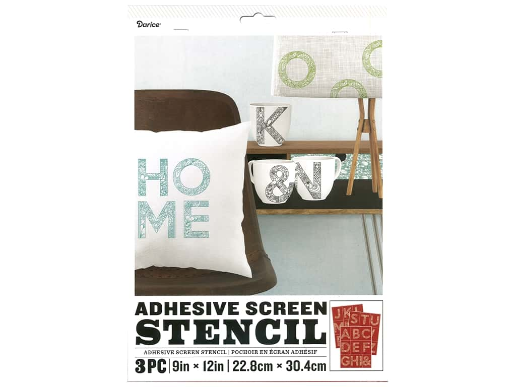 Darice Adhesive Screen Stencil 9 x 12 in. Floral Letter