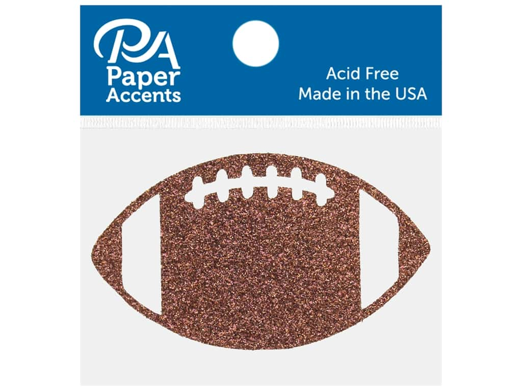 Paper Accents Glitter Shape Football Bronze 6 pc
