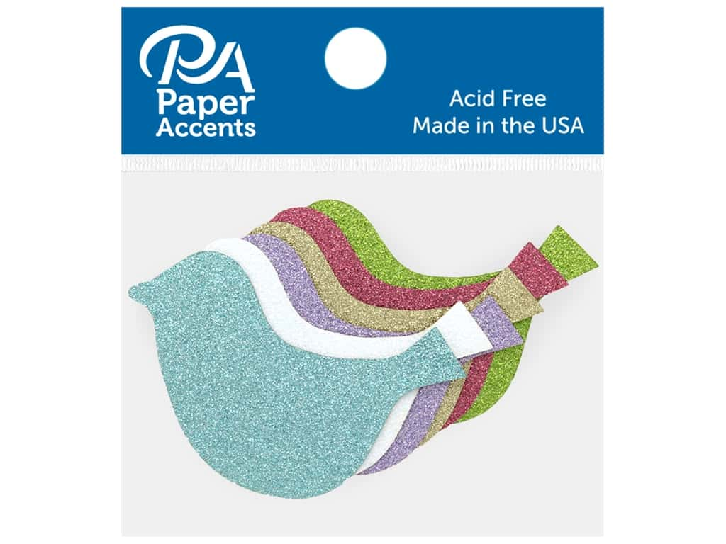 Paper Accents Glitter Shape Bird Gold, Lavender, Green, White, Blue, Pink 8 pc