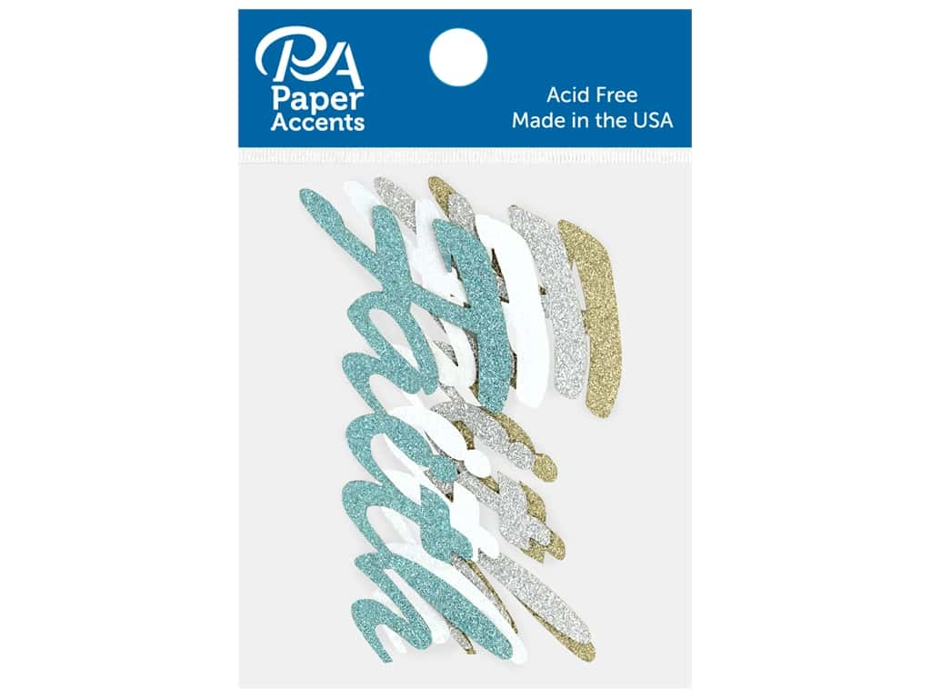 Paper Accents Glitter Shape Words Faith Gold, Silver, White, Blue 4 pc