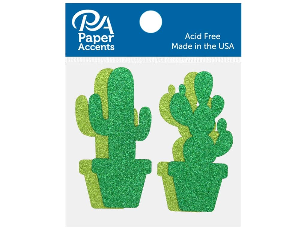Paper Accents Glitter Shape Cactus Olive Green, Green 8 pc