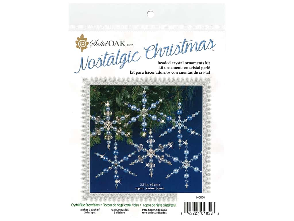 Solid Oak Kit Beaded Ornament Snowflakes Crystal/Blue