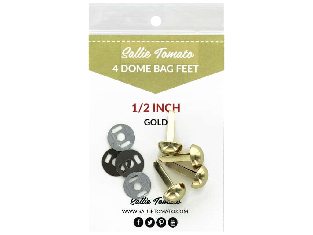 Sallie Tomato Hardware Bag Feet Dome .5 in. Gold 4 pc