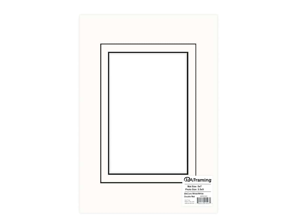 PA Framing Pre-cut Double Photo Mat Board Black Core 5 x 7 in. for 3 1/2 x 5 in. Photo White/White