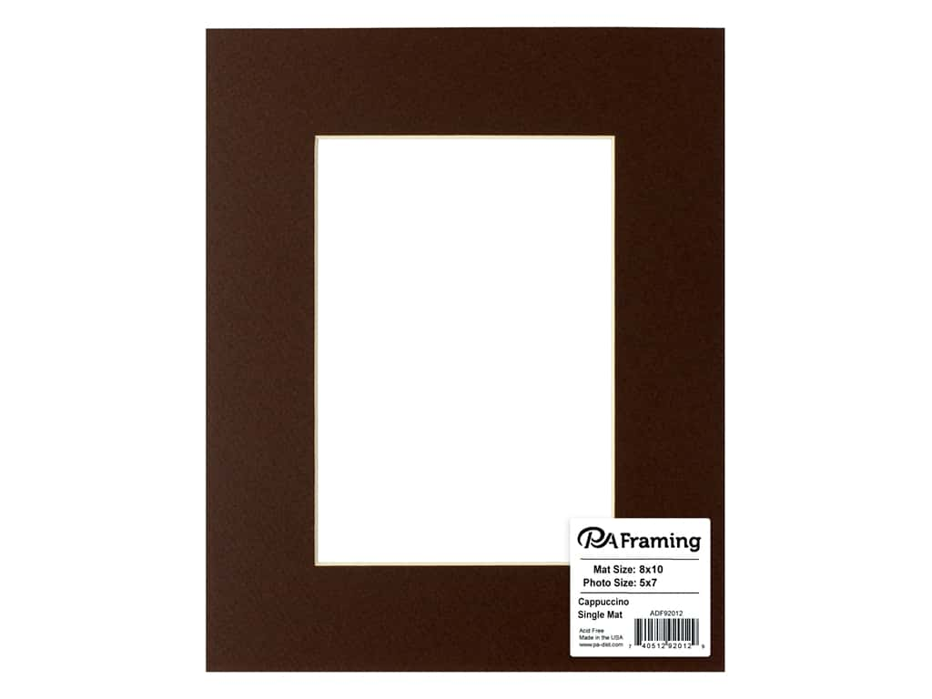 PA Framing Pre-cut Photo Mat Board Cream Core 8 x 10 in. for 5 x 7 in. Photo Cappuccino