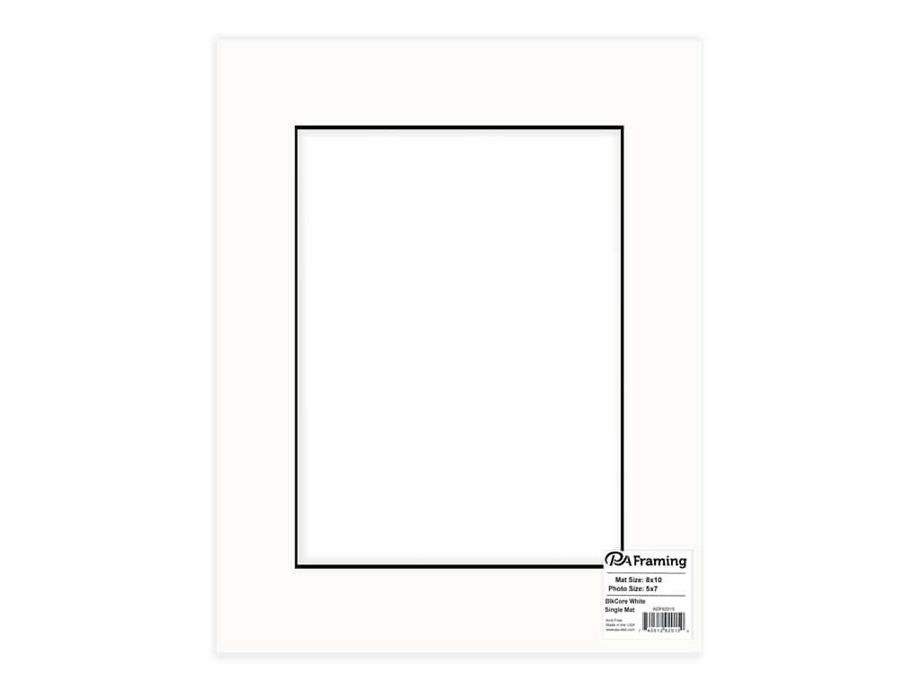 PA Framing Pre-cut Photo Mat Board Black Core 8 x 10 in. for 5 x 7 in. Photo White