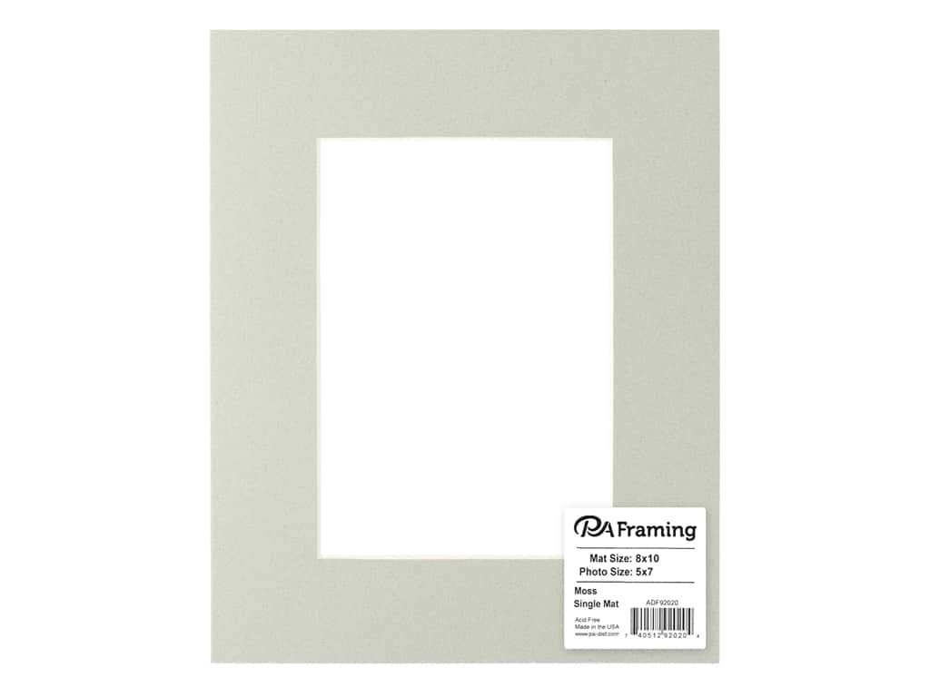 PA Framing Pre-cut Photo Mat Board Cream Core 8 x 10 in. for 5 x 7 in. Photo Moss
