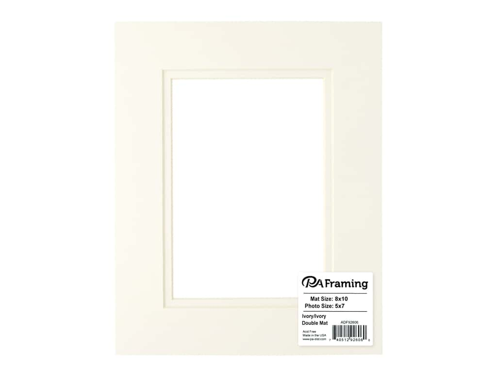 PA Framing Pre-cut Double Photo Mat Board Cream Core 8 x 10 in. for 5 x 7 in. Photo Ivory/Ivory