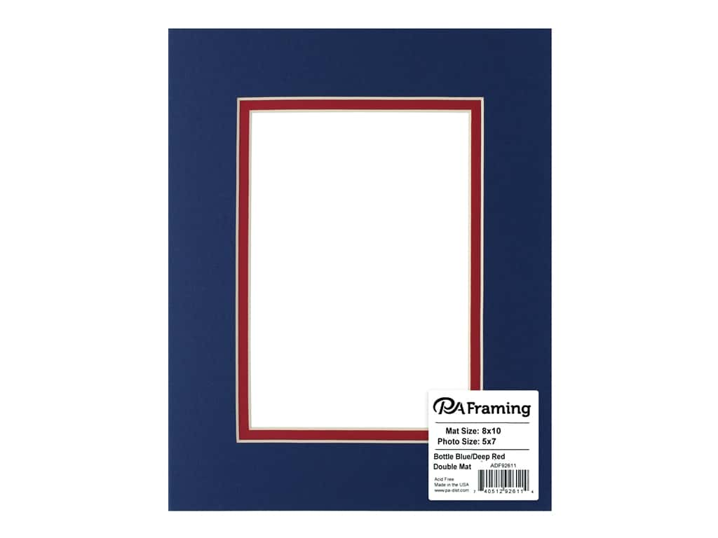 PA Framing Pre-cut Double Photo Mat Board Cream Core 8 x 10 in. for 5 x 7 in. Photo Bottle Blue/Deep Red