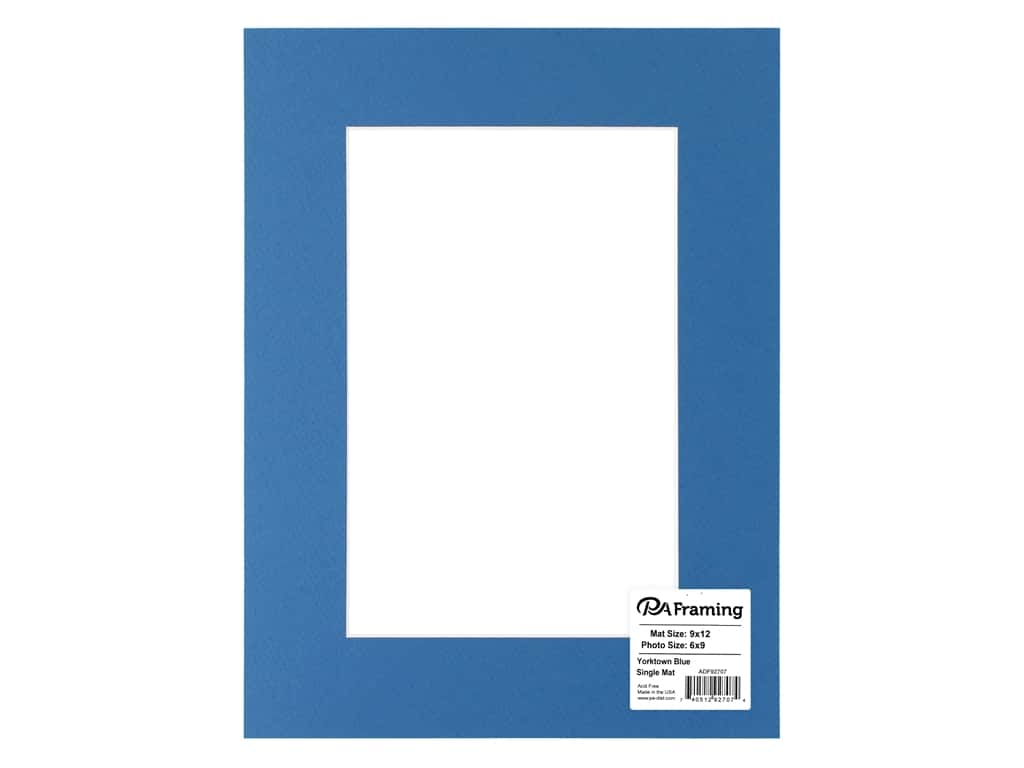 PA Framing Pre-cut Photo Mat Board Cream Core 9 x 12 in. for 6 x 9 in. Photo Yorktown Blue