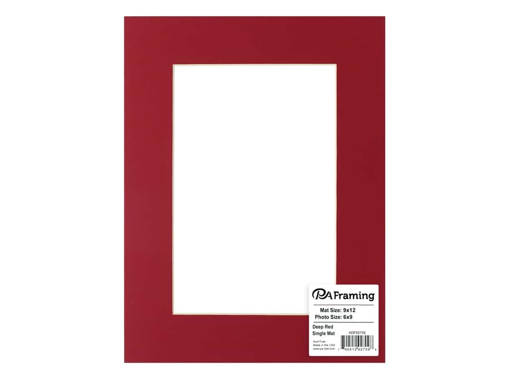 PA Framing Pre-cut Photo Mat Board Cream Core 9 x 12 in. for 6 x 9 in. Photo Deep Red