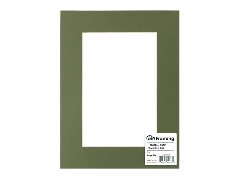 PA Framing Pre-cut Photo Mat Board Cream Core 9 x 12 in. for 6 x 9 in. Photo Dill