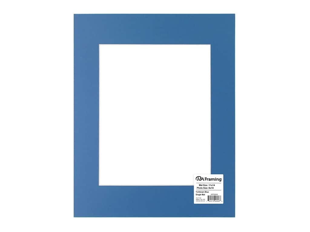 PA Framing Pre-cut Photo Mat Board Cream Core 11 x 14 in. for 8 x 10 in. Photo Yorktown Blue