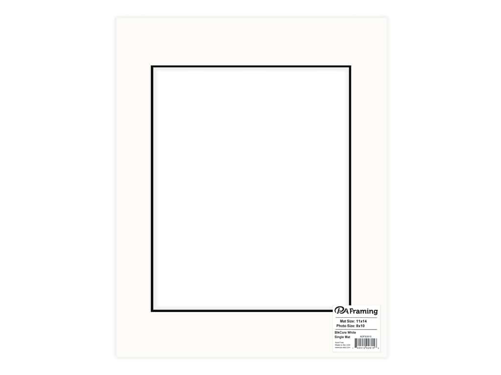 PA Framing Pre-cut Photo Mat Board Black Core 11 x 14 in. for 8 x 10 in. Photo White