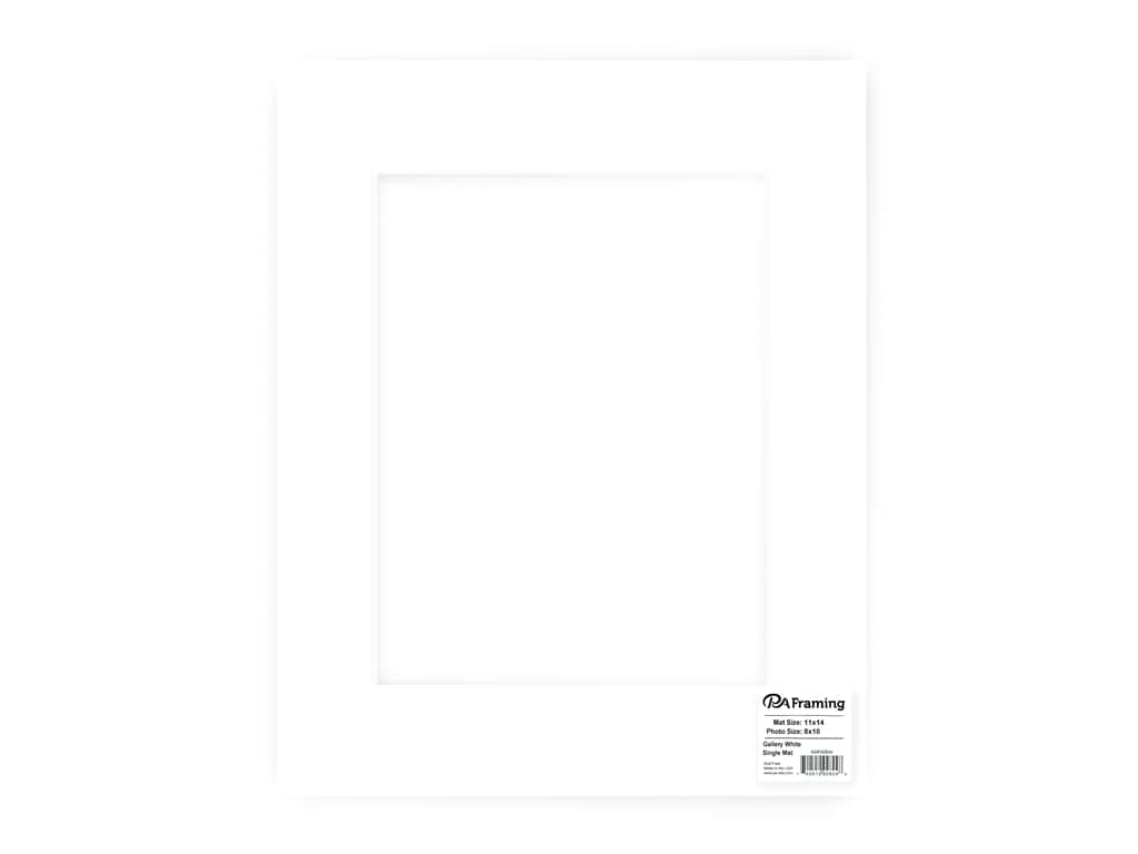 PA Framing Pre-cut Double Thick Gallery Photo Mat Board White Core 11 x 14 in. for 8 x 10 in. Photo White
