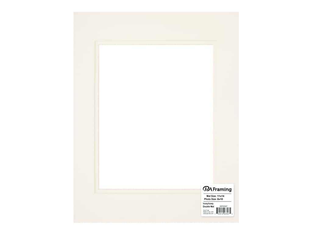 PA Framing Pre-cut Double Photo Mat Board Cream Core 11 x 14 in. for 8 x 10 in. Photo Ivory/Ivory