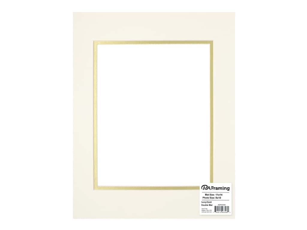 PA Framing Pre-cut Double Photo Mat Board Cream Core 11 x 14 in. for 8 x 10 in. Photo Ivory/Gold