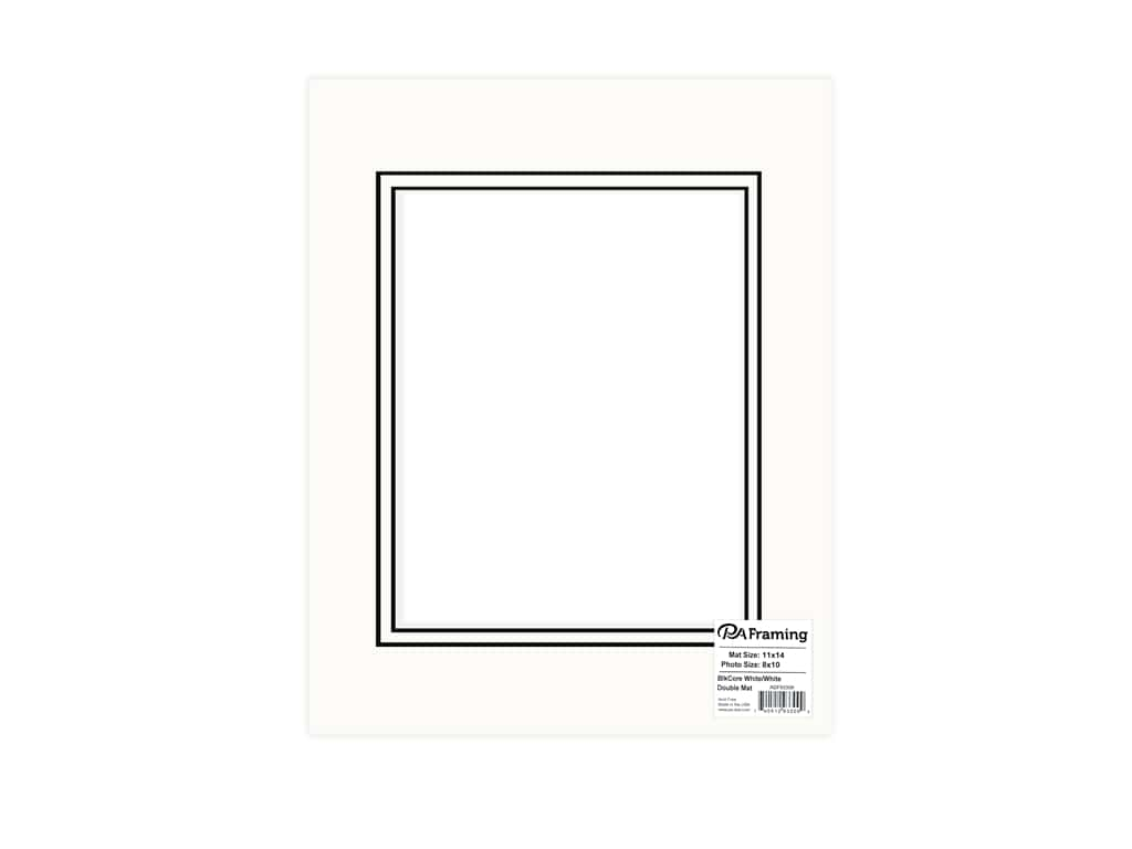 PA Framing Pre-cut Double Photo Mat Board Black Core 11 x 14 in. for 8 x 10 in. Photo White/White