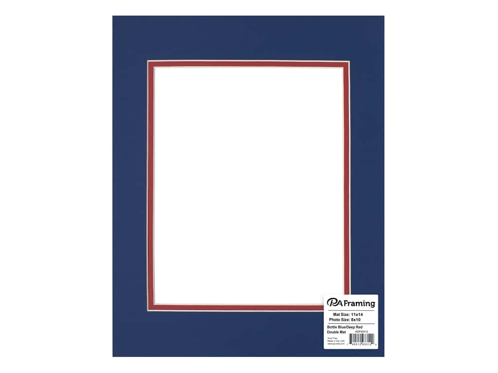 PA Framing Pre-cut Double Photo Mat Board Cream Core 11 x 14 in. for 8 x 10 in. Photo Bottle Blue/Deep Red