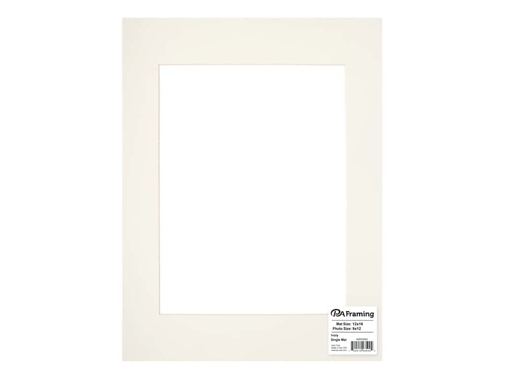 PA Framing Pre-cut Photo Mat Board Cream Core 12 x 16 in. for 9 x 12 in. Photo Ivory