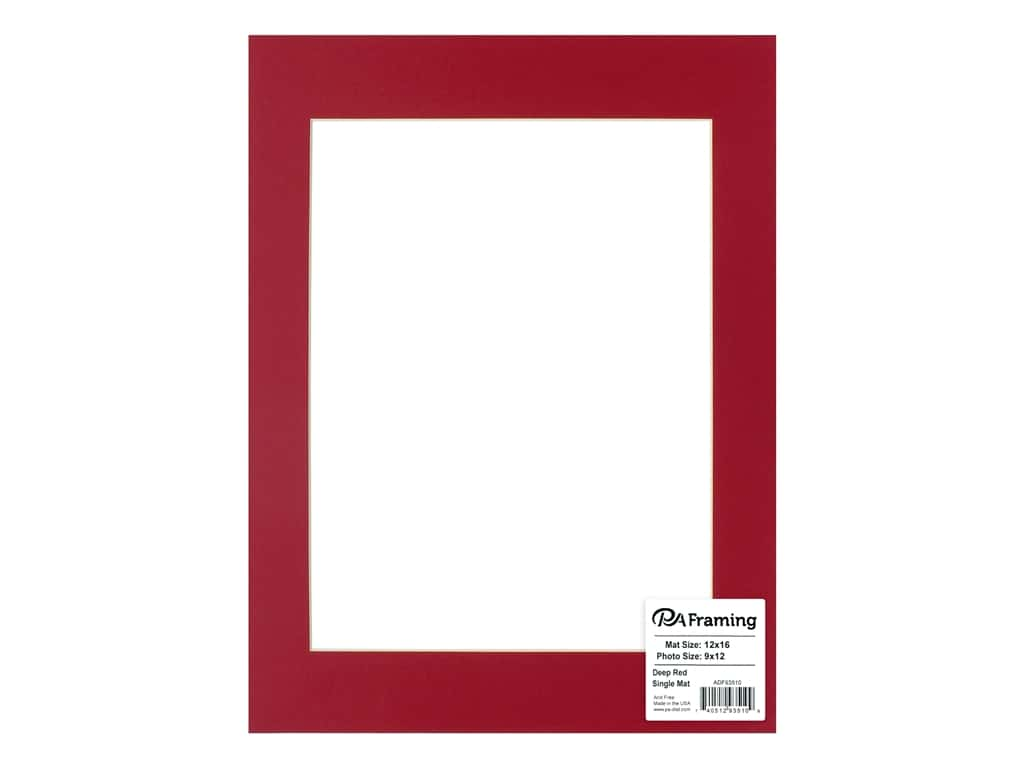 PA Framing Pre-cut Photo Mat Board Cream Core 12 x 16 in. for 9 x 12 in. Photo Deep Red