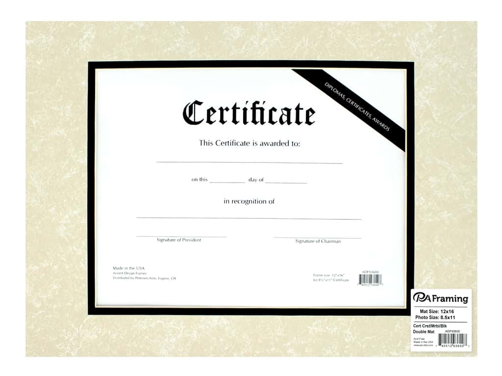 PA Framing Pre-cut Double Photo Mat Board Cream Core 12 x 16 in. for 8 1/2 x 11 in. Certificate Crystal Marble/Black