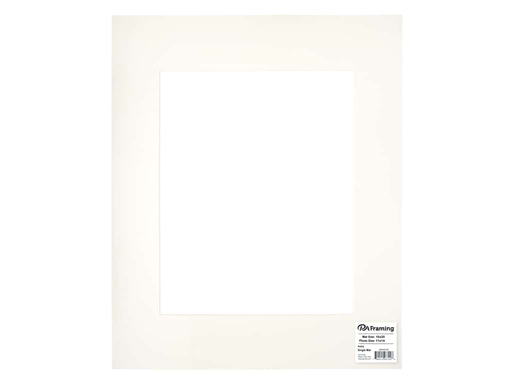 PA Framing Pre-cut Photo Mat Board Cream Core 16 x 20 in. for 11 x 14 in. Photo Ivory