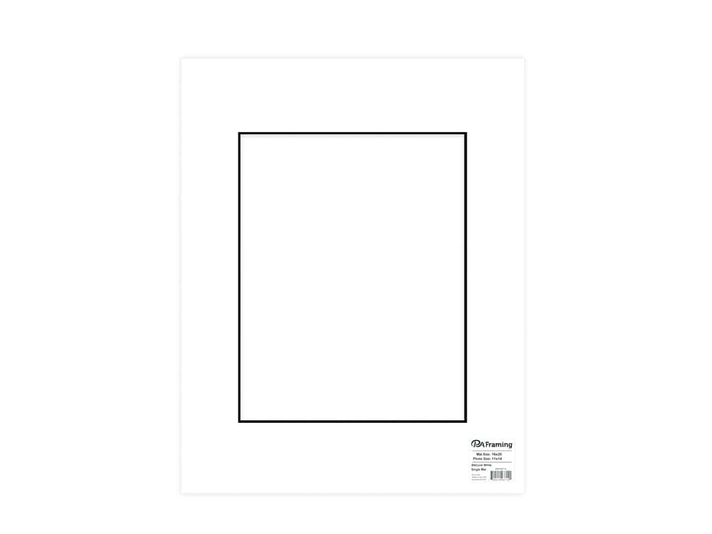 PA Framing Pre-cut Photo Mat Board Black Core 16 x 20 in. for 11 x 14 in. Photo White