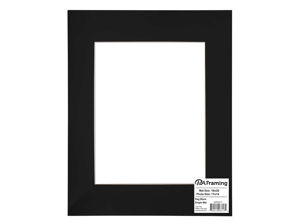 PA Framing Pre-cut Rag Photo Mat Board White Core 16 x 20 in. for 11 x 14 in. Photo Black