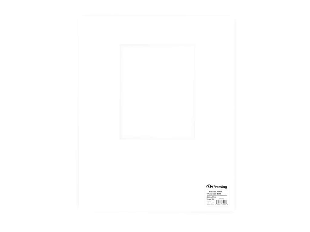 PA Framing Pre-cut Double Thick Gallery Photo Mat Board White Core 16 x 20 in. for 8 x 10 in. Photo White