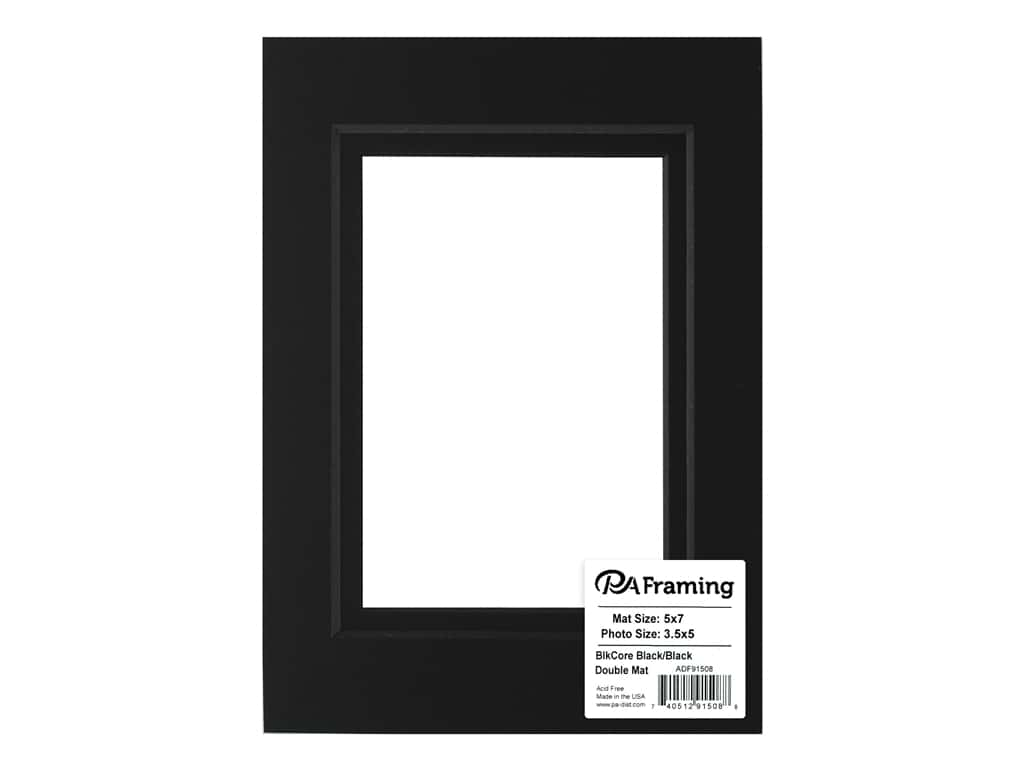 PA Framing Pre-cut Double Photo Mat Board Black Core 5 x 7 in. for 3 1/2 x 5 in. Photo Black/Black
