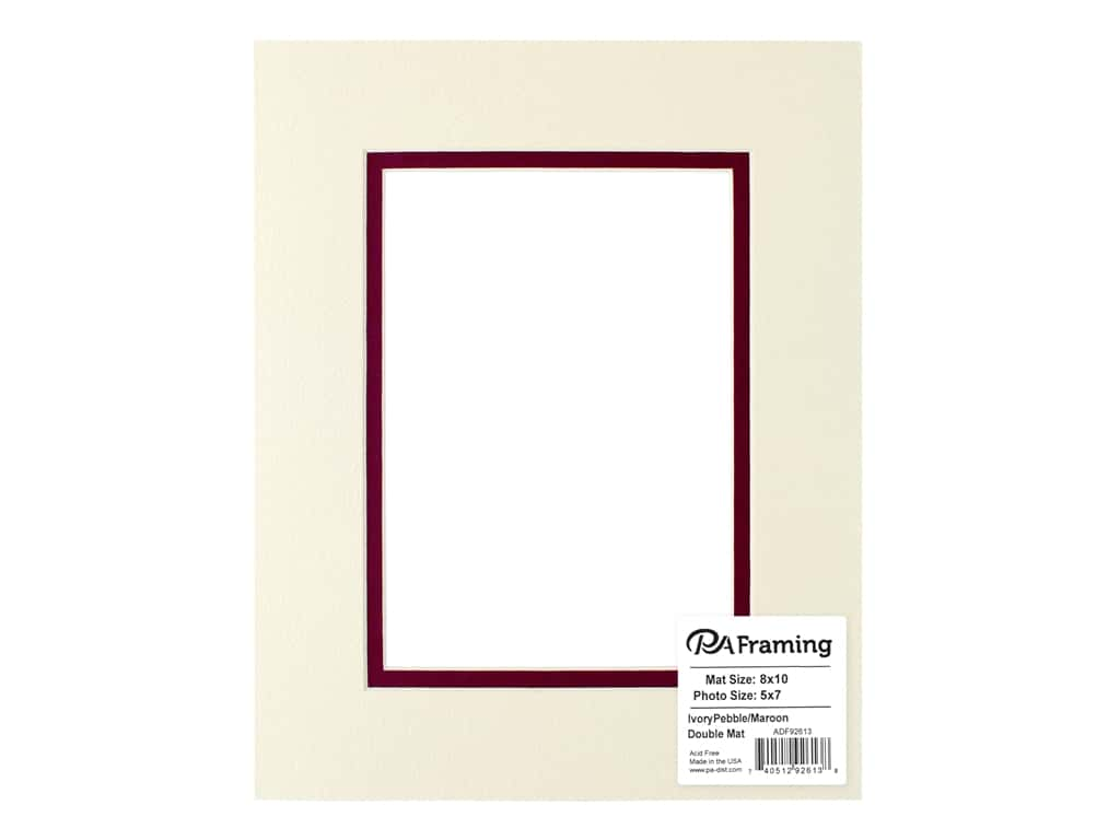 PA Framing Pre-cut Double Photo Mat Board Cream Core 8 x 10 in. for 5 x 7 in. Photo Ivory Pebble/Maroon