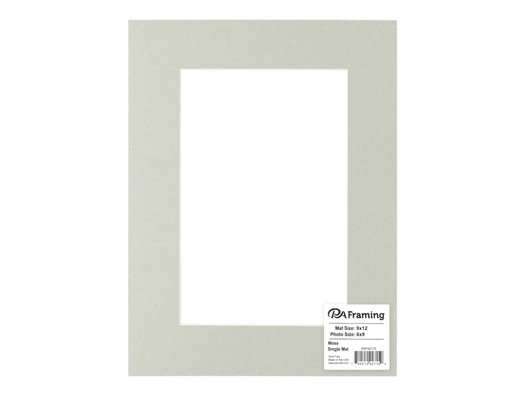 PA Framing Pre-cut Photo Mat Board Cream Core 9 x 12 in. for 6 x 9 in. Photo Moss