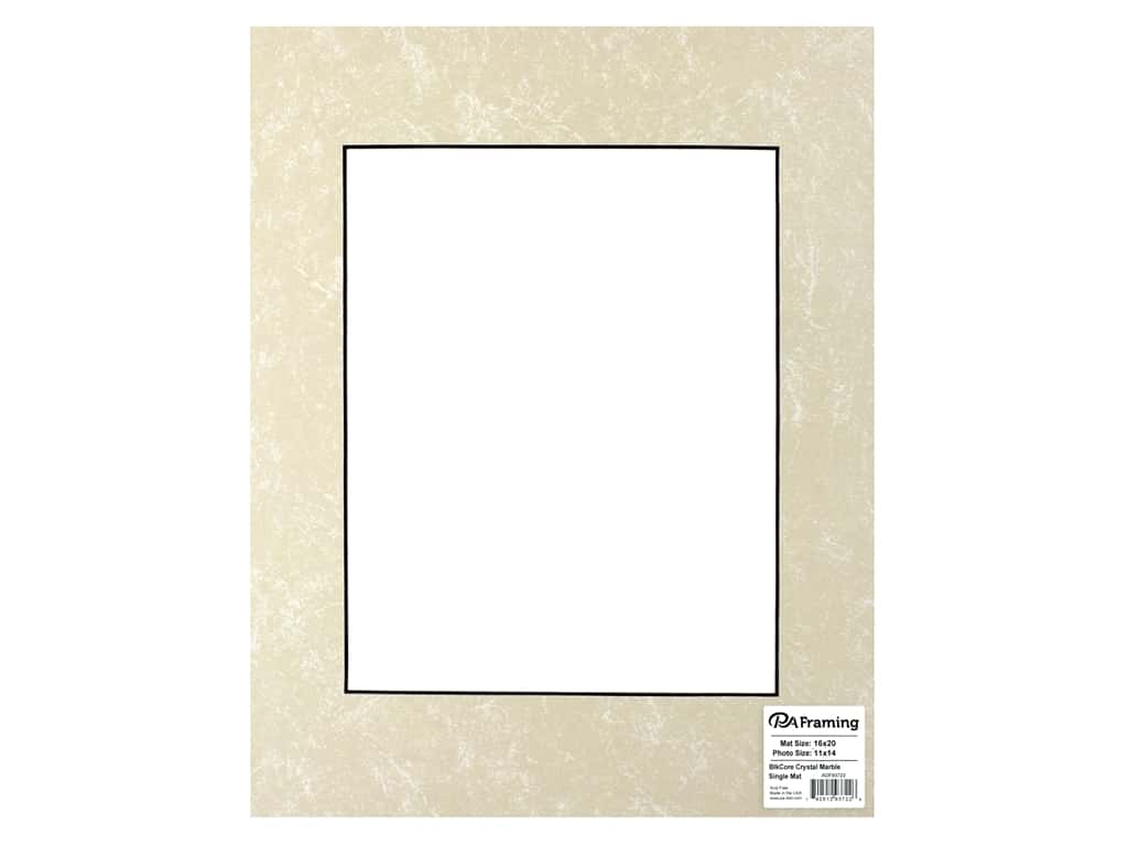 PA Framing Pre-cut Photo Mat Board Black Core 11 x 20 in. for 11 x 14 in. Photo Crystal Marble